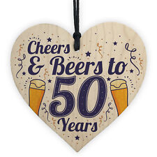 Cheers Beers 50th Birthday Novelty Gifts Men Wooden Heart Gift For Friend Dad