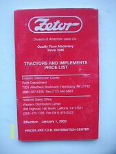Vintage Original Zetor Tractors & Implements Price List booklet 34-pages