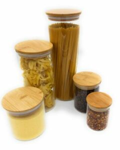 High quality Airtight Glass Storage Jars with Bamboo Lids