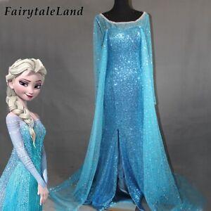Anime Girls Cos Princess Elsa Cosplay Costume Halloween Princess Dress Adult