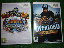 2x NINTENDO Wii Juegos Overlord La Leyenda Siniestra + el juego Skylanders Gigantes