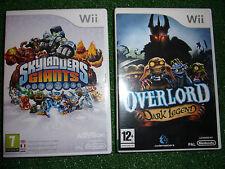 2x NINTENDO Wii GAMES OVERLORD DARK LEGEND + SKYLANDERS GIANTS THE GAME