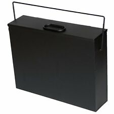 BLACK Metal Hot Ash Tidy Box Incinerator Coal Paper Tippy Fireplace Carrier