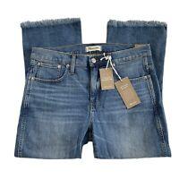 Madewell 31 Petite Cali Demi-Boot Jeans Comfort Stretch Eco High-Rise Frayed Hem