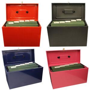 Lockable A4 Metal File Box Filing Storage inc / extra 5 Free Suspension Files