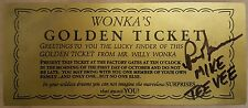 PARIS THEMMEM MIKE TEE VEE  FROM WILLY WONKA  SIGNED GOLDEN TICKET GENE WILDER