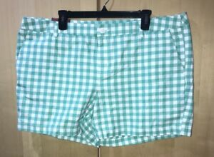 Merona Chino Shorts Checker Board Plaid Shorts Zipper Sz 18 x 5 Green White B6