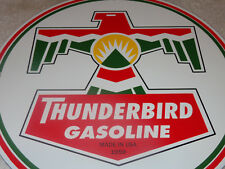 "VINTAGE 1959 THUNDERBIRD GASOLINE  11 3/4"" PORCELAIN METAL GAS & OIL SIGN T BIRD"