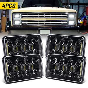 "4PCS DOT 4x6"" LED Headlights DRL Sealed Beam Black for GMC 3500 2500 1500 Jimmy"