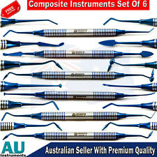 Restorative Dental Composite Filling Instrument Blue Titanium Coated 6 piece Kit