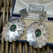 CAROLYN POLLACK 925 SILVER EARRINGS, LARGE SOUTHWEST DANGLE, NATURAL TURQUOISE