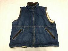 Vintage Wrangler Hero Sherpa Denim Waistcoat Sleeveless Denim Jacket Size 2XL