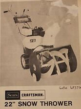 """Sears Craftsman 22"""" Snow Blower Owners Manual 536.909400 - Paper Copy"""