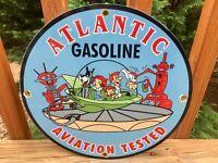 """Vintage Atlantic Gasoline Aviation Porcelain Gas & Oil Sign 12"""""""