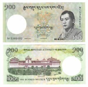BHUTAN UNC 100 Ngultrum Banknote (2015) P-32c Paper Money