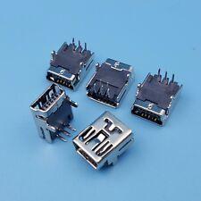 100Pcs Mini USB Type B Right Angle 2Legs Female Socket 5Pin DIP PCB Connector
