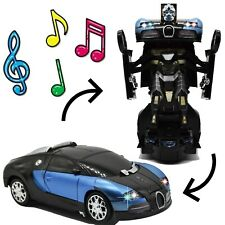 Bump and Go Transformer Robot Car Toy For Kids Toys Gift Blue French Luxury Car
