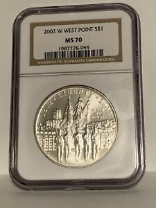 2002-W West Point Military Academy Commemorative Silver Dollar NGC MS70