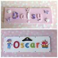 CHILDREN KIDS WOODEN NAME PLAQUE Personalised Bedroom Boy Girl Door/Wall Sign