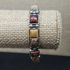 """Tan Red Square Jasper Inlay Silver Tone Chain Link Toggle Bracelet 7"""" to 8"""""""