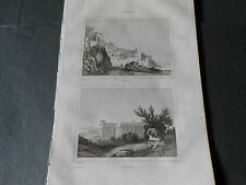 1836 INCISIONE BULINO AMALFI E PAESTUM SALERNO DA ITALIE PITTORESQUE