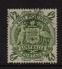 AUSTRALIA 1948 £2 GREEN WITH ROLLER FLAW SG 224da FINE USED.