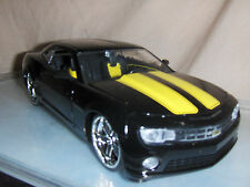 Toy Car Jada Dub 1:24 Black 2010 Chevy Camaro SS Yellow Stripes Hot Rod