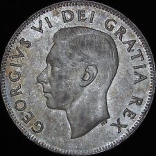 1952 AU++ Canada Silver 50 Cents (Fifty, Half) - KM# 45 - Free Shipping - JG