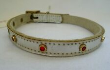 "Pet Jewelry Adjustable Dog Collar Silver Metallic Red Rhinestones 10"" - 13""  S"