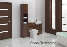 TOBACCO WALNUT GLOSS BATHROOM FITTED FURNITURE 1400MM WITH TALL UNIT