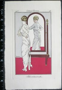 Drian,Journal des dames,Woman looks at herself in a mirror,handc.engr.1914#98