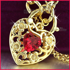9K YELLOW GOLD GF RED GARNET CRYSTAL BELCHER CHAIN HEART PADLOCK BANGLE BRACELET