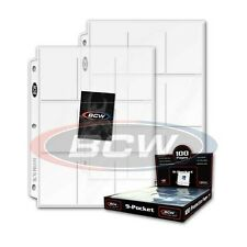 10 - 9 Pocket Card / Page Protectors - made by BCW  Pro9T  fits 3 ring binder