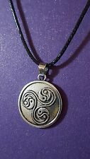 "Triskelion Yin Yang Ultimate Spirituality Pendant  on 18""+  Lace Cord     d4"