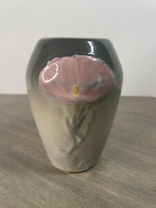 """Vintage WELLER ETNA Flower Vase Pink Gray 5"""" tall"""