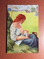 Antique postcard early 1900s BREAST FEEDING WOMAN Motherhood baby Artist O.Peter