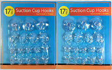 34pc Suction Cup Hook Clear Glass Window Wall Sucker Hanger Various Sizes