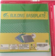 """Building Bricks Baseplate 10"""" x 10 Inch - Green 4 Pack With Peel Stick Back"""