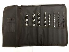 HEX WOOD AUGER DRILL BIT SET IN TOOL ROLL - 8, 10, 12, 13, 16, 19, 22 & 25mm