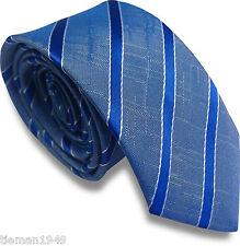 Electric Blue Stripe Skinny Slim Retro Tie