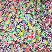 100 x 6mm WHITE Faces Beads COLOURFUL Expressions, Pony Beads, Dummy Clips