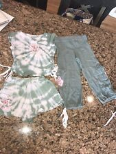 BOUTIQUE BRAND JM ORIGINALS GIRLS 3 piece set Camo Tie Dye Shirt Shorts Pants 4