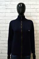 ETRO MILANO Donna Cardigan Blu Maglione Lana Taglia S Felpa Pullover Sweater Zip