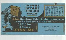 AETNA Insurance Ink Blotter October 1929 Calendar Charles Wilson Boston MA Adv