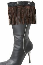 Western Women Winter Boot Toppers Brown Fabric Long Fringe Knee High Flower Sexy