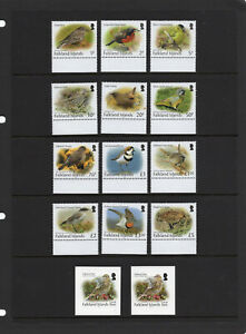 FALKLAND ISLS. 2017-19, SMALL BIRDS DEFINITIVE & LOCAL RATE S/A STAMPS, 14v, MNH
