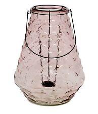 Windlicht rosa Teelichthalter Garten-Deko Glas. Laterne groß Garten Blumen-Vase