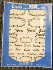 Vintage Meyercord Decals X171B His Hers Labels Guest Thread Soap Swabs Cotton