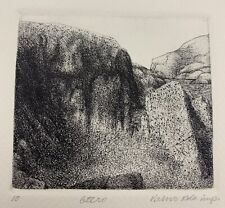 Etching Original Signed Vaino Kola #10 Landscape Mountain Old VTG.