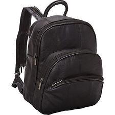 July 4th Women's Leather Three Zip Around Black Backpack Book Bag Handbag